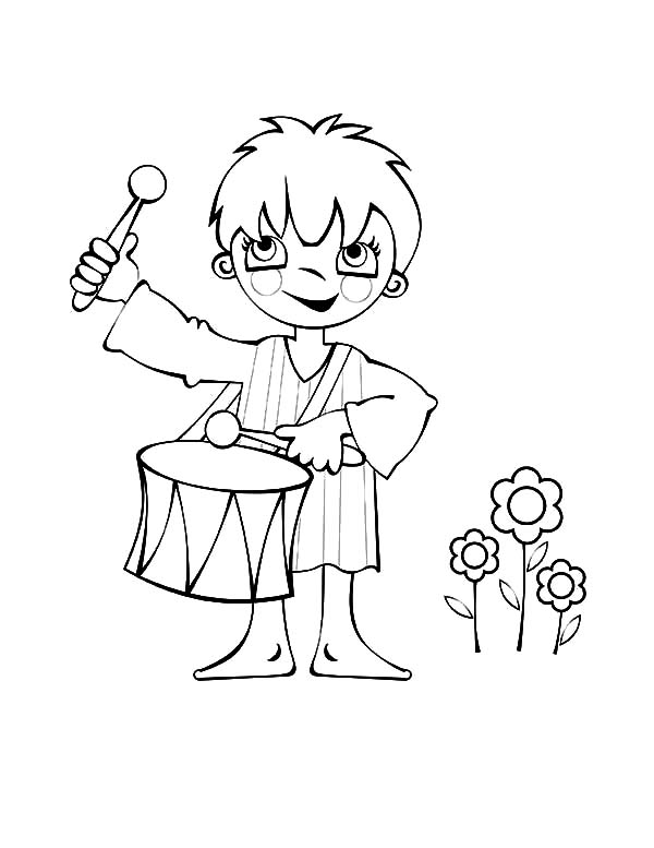 Drummer Boy, : Drummer Boy and Three Flowers Coloring Pages