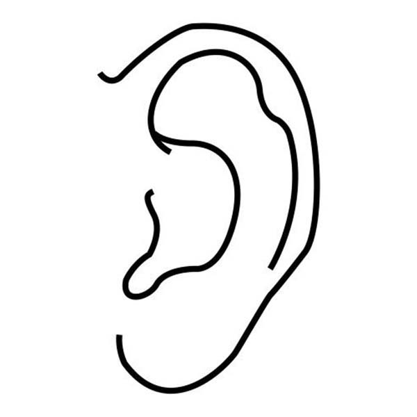 Ear, : Ear Coloring Pages for Kids