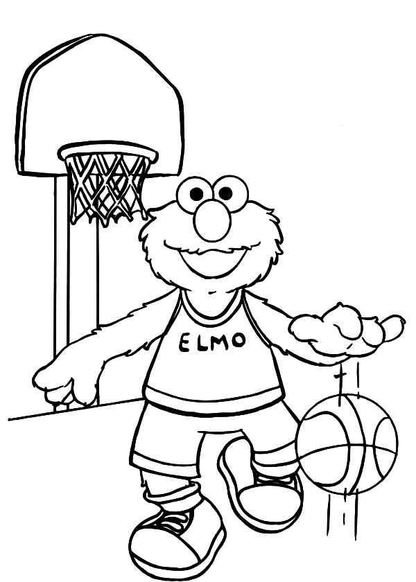 Exercise, : Elmo Basketball Exercise Coloring Pages