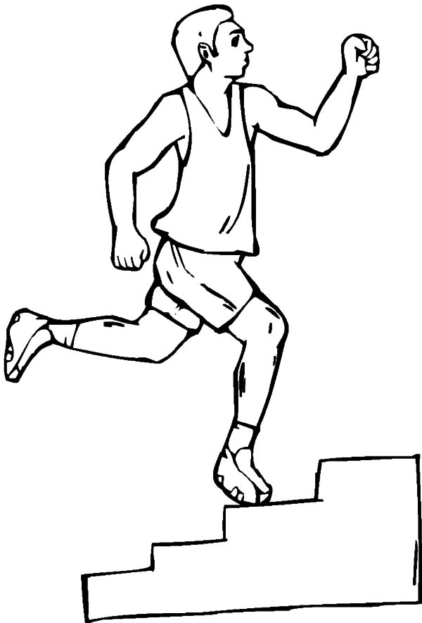 Exercise, : Exercise with Stair Coloring Pages
