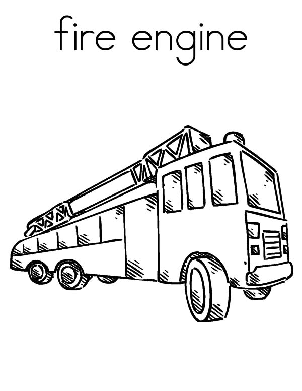 Fire Engine, : F is for Transporting Firefighter with Fire Engine Coloring Pages