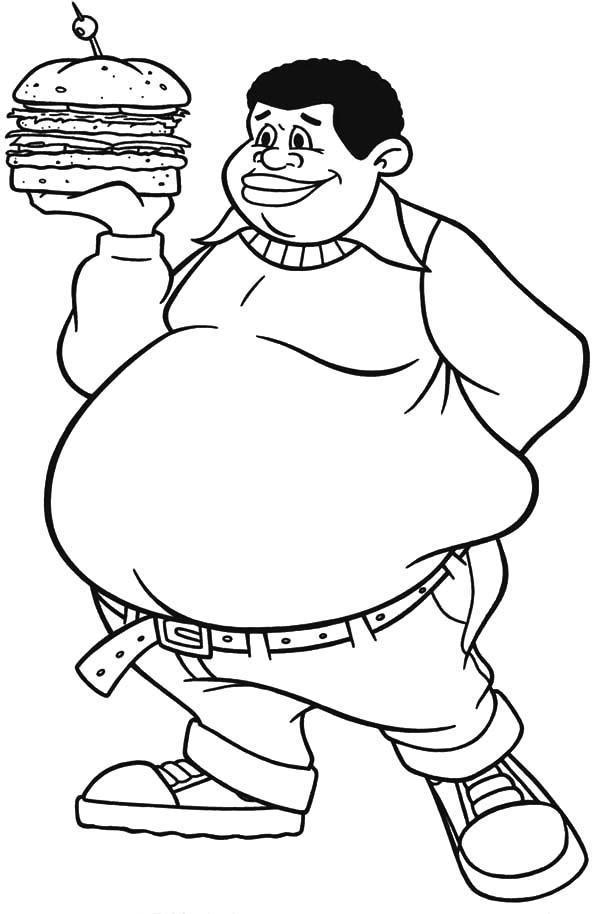 Fat Boy, : Fat Albert Boy Bring Big Burger Coloring Pages