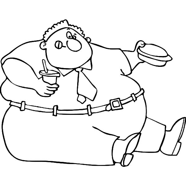 Fat Boy, : Fat Boy Eating His Lunch Box Coloring Pages
