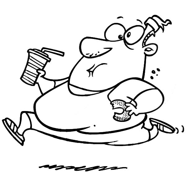 Fat Boy, : Fat Boy Running with Donut and Soft Drink Coloring Pages