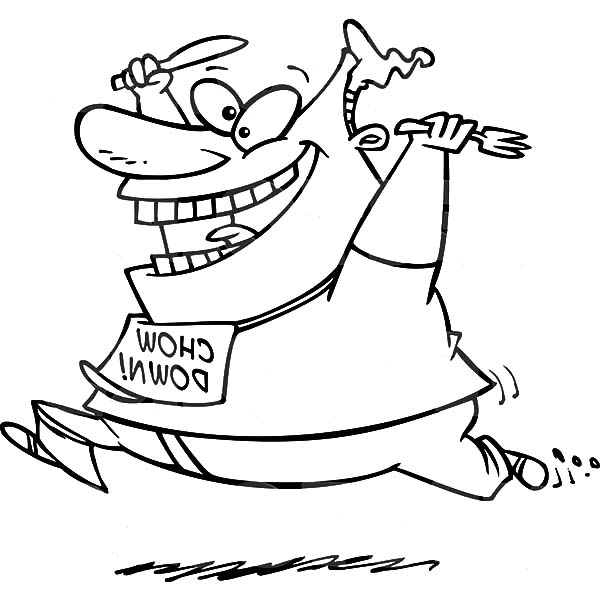 Fat Boy, : Fat Boy Running with Fork and Spoon in Hand Coloring Pages