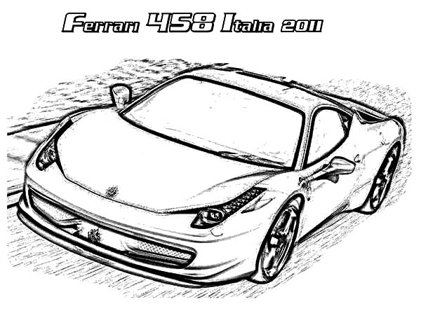 Ferrari Cars, : Ferrari 458 Italia 2011 Cars Coloring Pages