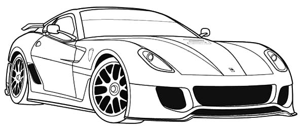 Ferrari Cars, : Ferrari 599 Cars Full of Speed Coloring Pages
