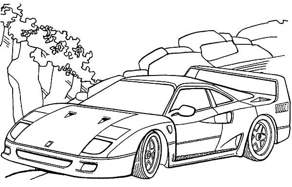 Ferrari Cars, : Ferrari F40 Cars Coloring Pages