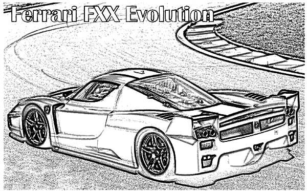 Ferrari Cars, : Ferrari FXX Cars Evolution Coloring Pages