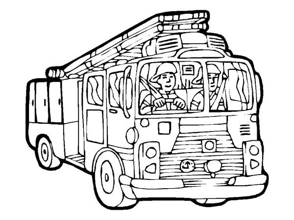 Fire Engine, : Fight Fire Using Fire Engine Coloring Pages