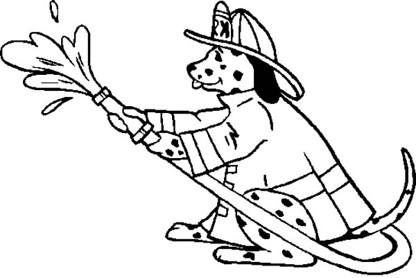 Fire Dog, : Fire Dog Holding Fire Hose Coloring Pages