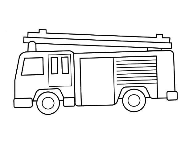 Fire Engine, : Fire Engine Outline Coloring Pages