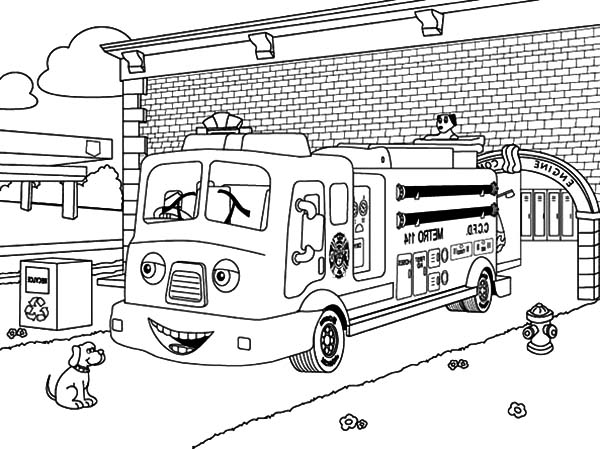 Fire Engine, : Fire Engine Ready for Duty Coloring Pages