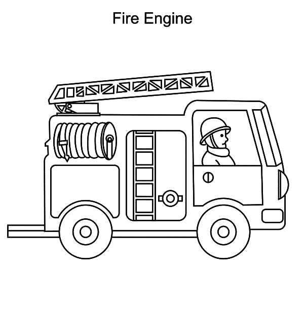 Fire Engine, : Fire Engine Truck Coloring Pages