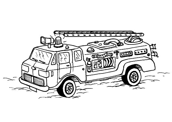 Fire Engine, : Fire Engine in Action Coloring Pages