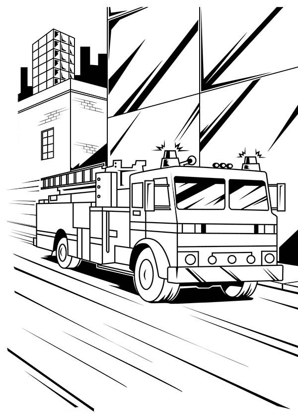 Fire Engine, : Fire Engine on Down Town Street Coloring Pages