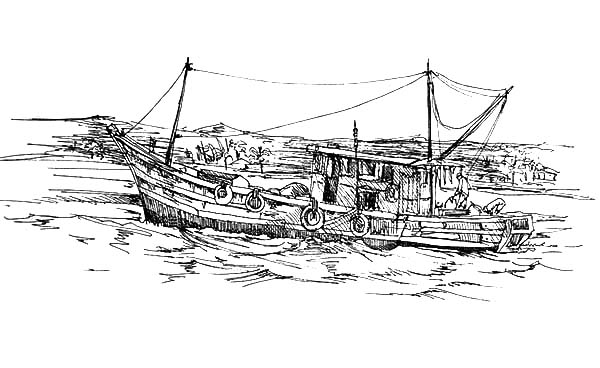 Fishing Boat, : Fisherman on Traditional Fishing Boat Coloring Pages