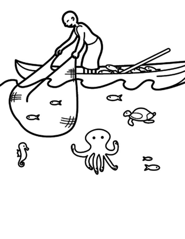 Fishing Boat, : Fishing Boat Catching Fish with Net Coloring Pages