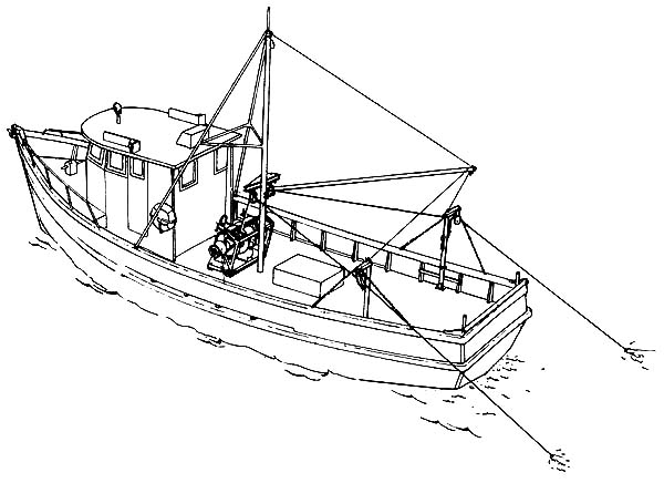 Fishing Boat, : Fishing Boat Coloring Pages for Kids