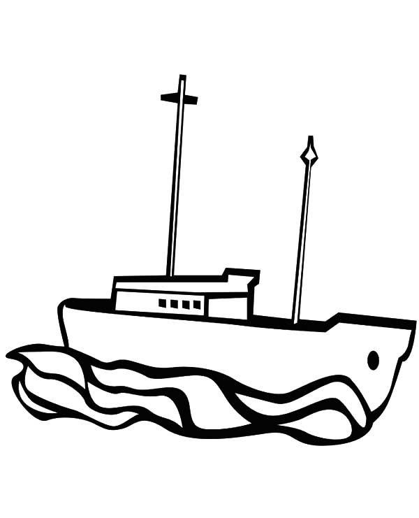 Fishing Boat, : Fishing Boat Coloring Pages