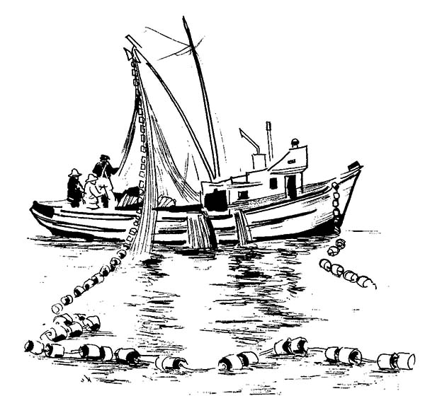 Fishing Boat, : Fishing Boat Dropping Net in the Sea Coloring Pages