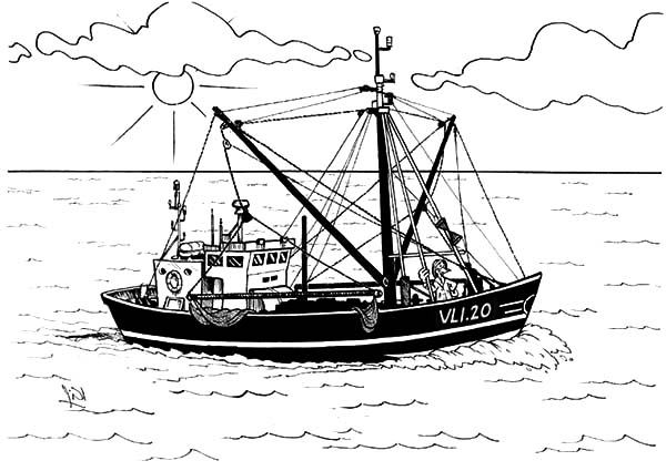 Fishing Boat, : Fishing Boat Sailing at Dawn Coloring Pages