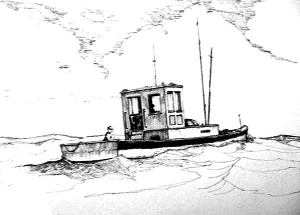 Fishing Boat, : Fishing Boat Sailing on the Sea Coloring Pages