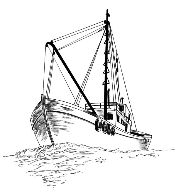 Fishing Boat, : Fishing Boat Sketch Coloring Pages
