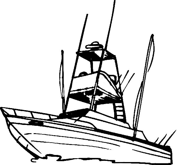 Fishing Boat, : Fishing Boat for Fishing Sport Coloring Pages