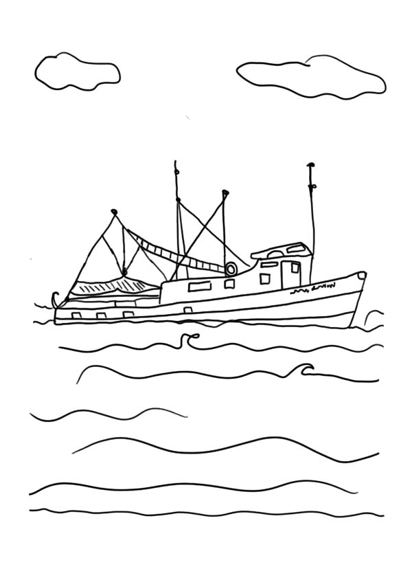 Fishing Boat, : Fishing Boat on Big Wave Coloring Pages