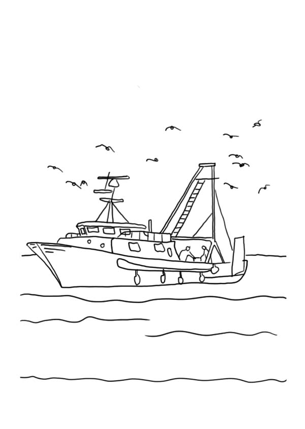 Fishing Boat, : Fishing Boat with Seagulls Coloring Pages