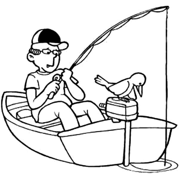 Fishing Boat, : Fishing on Little Boat Coloring Pages