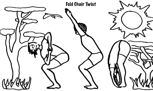 Exercise, : Fold Chair Twist Exercise Coloring Pages