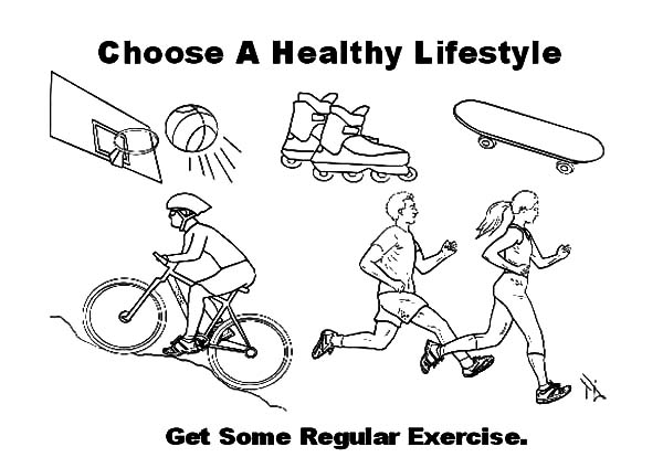 Exercise, : Get Some Regular Exercise Coloring Pages
