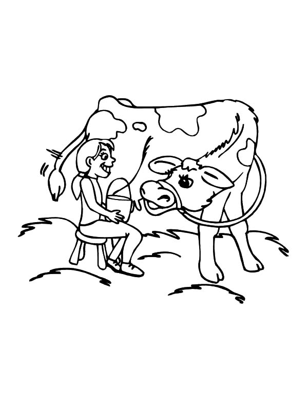 Cows, : Girl Want to Milking Cows Coloring Pages
