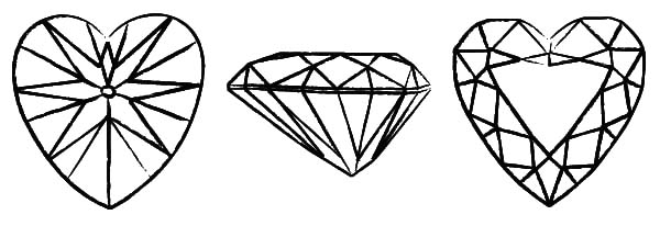 Diamond Shape, : Heart Diamond Shape Cut Coloring Pages