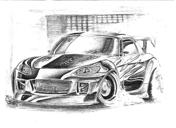 Drifting Cars, : Honda S2000 Street Drifting Cars Coloring Pages