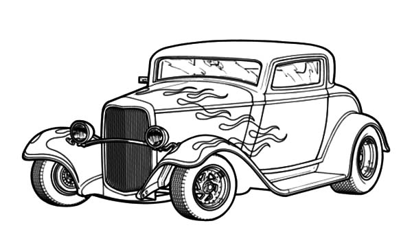 Hot Rod Cars, : Hot Rod Cars with Flaming Theme Coloring Pages