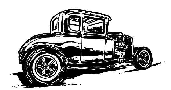 Hot Rod Cars, : Hot Rod Coupe Type Cars Coloring Pages