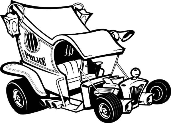 Hot Rod Cars, : Hot Rod Police Cars Coloring Pages
