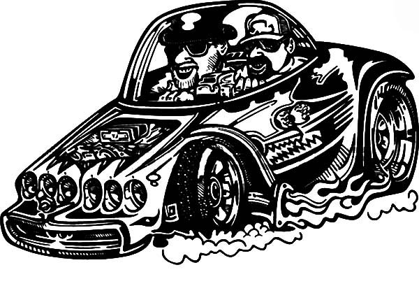 Hot Rod Cars, : Hot Rod Racing Cars Coloring Pages