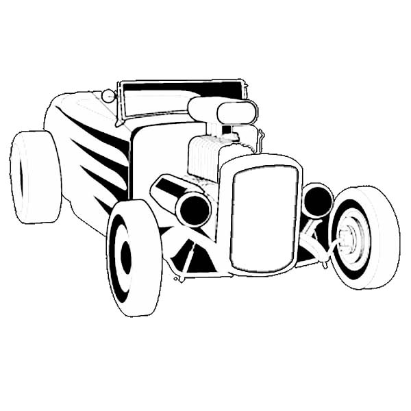 Hot Rod Cars, : Hot Rod Roadster Cars Coloring Pages