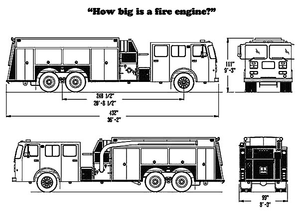 Fire Engine, : How Big is a Fire Engine Coloring Pages
