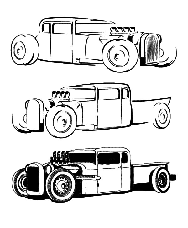 Hot Rod Cars, : How to Draw Hot Rod Cars Coloring Pages