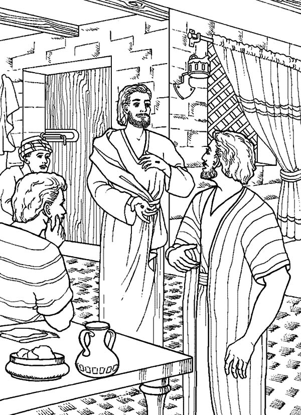 Doubting Thomas, : Jesus Give His Hand to Doubting Thomas Coloring Pages