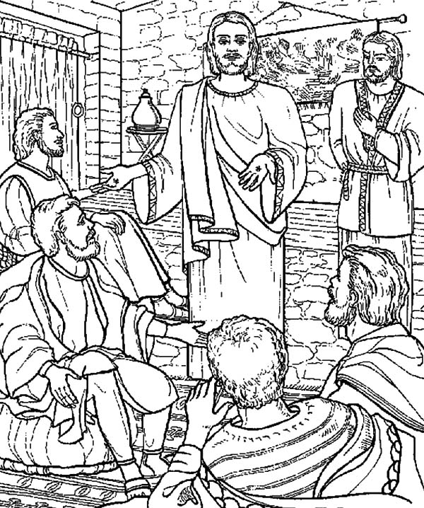 Doubting Thomas, : Jesus Show His Hand to Doubting Thomas and Other Apostles Coloring Pages