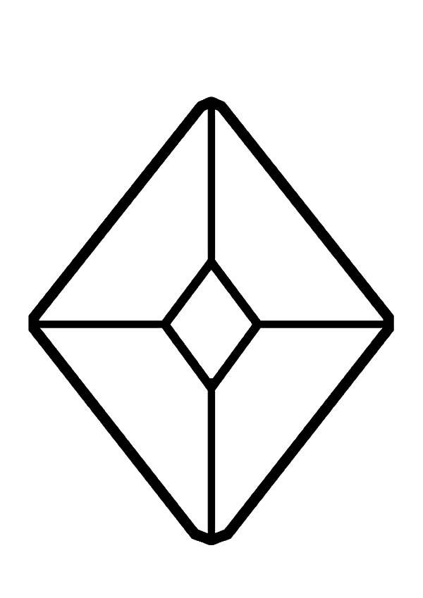Diamond Shape, : Jewel Diamond Shape Coloring Pages