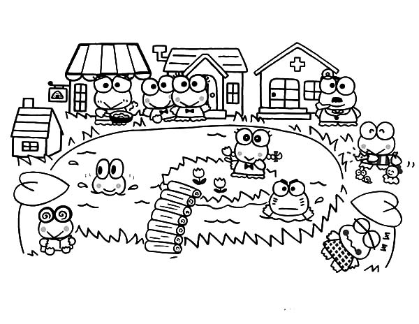 kerokeropi coloring pages | Kero Kero Keroppi Village Coloring Pages : Kids Play Color