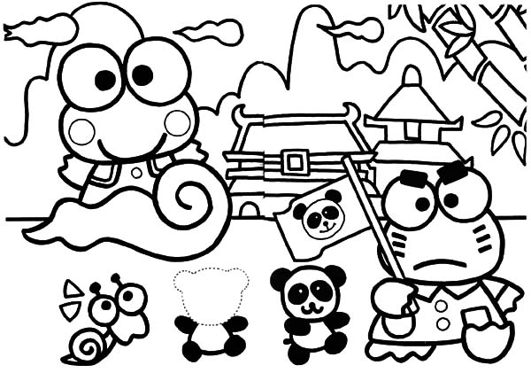 Keroppi, : Kero Kero Keroppi in China Coloring Pages