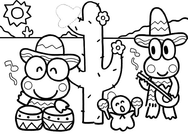 Keroppi, : Kero Kero Keroppi in Mexico Coloring Pages